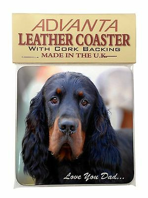 Gordon Setter 'Love You Dad' Single Leather Photo Coaster Animal Breed, DAD-38SC
