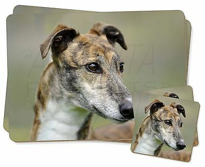 Greyhound Dog Twin 2x Placemats+2x Coasters Set in Gift Box, AD-GH6PC