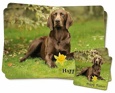 'Happy Easter' German Pointer Twin 2x Placemats+2x Coasters Set in, AD-GSP1DA1PC