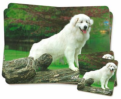 Pyrenean Mountain Dog 'Love You Mum' Twin 2x Placemats+2x Coasters , AD-PM1lymPC