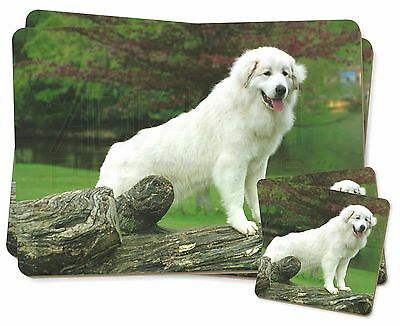 Pyrenean Mountain Dog Twin 2x Placemats+2x Coasters Set in Gift Box, AD-PM1PC