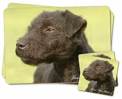 Patterdale Terrier Dogs 'Love You Mum' Twin 2x Placemats+2x Coaster, AD-PT1lymPC
