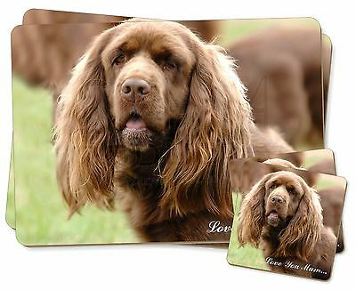 Sussex Spaniel Dog 'Love You Mum' Twin 2x Placemats+2x Coasters Se, AD-SUS1lymPC
