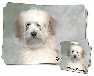 Tibetan Terrier 'Yours Forever' Twin 2x Placemats+2x Coasters Set in , AD-TT1YPC