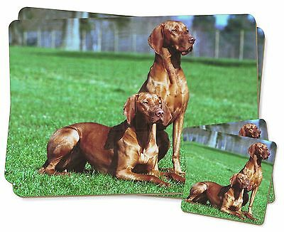 Hungarian Vizslas Twin 2x Placemats+2x Coasters Set in Gift Box, AD-V1PC