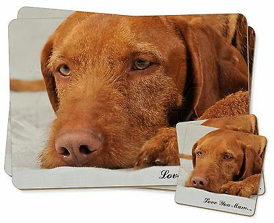 Hungarian Vizsla 'Love You Mum' Twin 2x Placemats+2x Coasters Set in, AD-V3lymPC