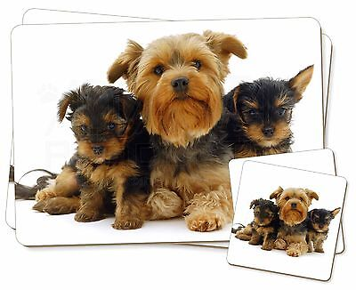 Yorkshire Terrier Dogs Twin 2x Placemats+2x Coasters Set in Gift Box AD-Y3PC