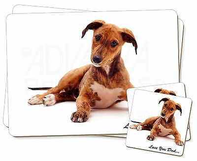 Lurcher 'Love You Dad' Sentiment Twin 2x Placemats+2x Coasters Set in, DAD-180PC