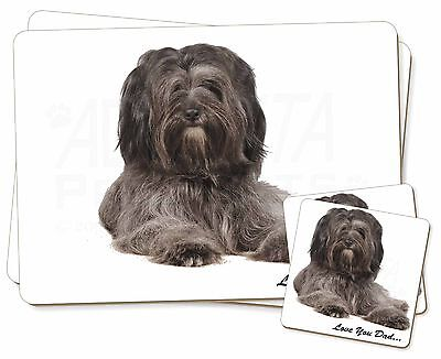 Tibetan Terrier Dog 'Love You Dad' Twin 2x Placemats+2x Coasters Set , DAD-192PC