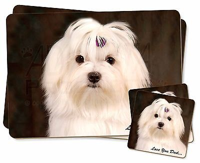 Maltese Dog 'Love You Dad' Twin 2x Placemats+2x Coasters Set in Gift B, DAD-77PC