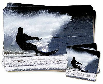 Water Skiing Sport Twin 2x Placemats+2x Coasters Set in Gift Box, SPO-W1PC
