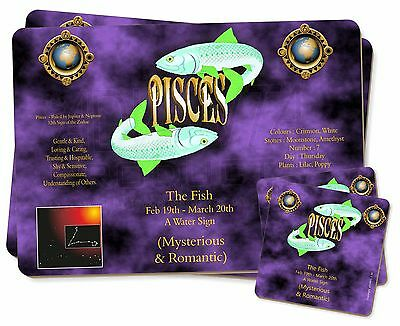 Pisces Star Sign Birthday Gift Twin 2x Placemats+2x Coasters Set in Gi, ZOD-12PC
