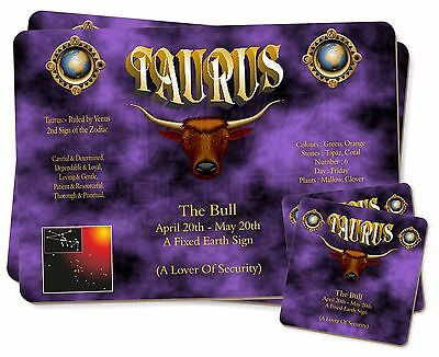 Taurus Star Sign Birthday Gift Twin 2x Placemats+2x Coasters Set in Gif, ZOD-2PC
