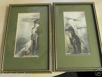 c.1915 two small framed tint prints C Russell Culver Cliffs Sandown Bay IOW