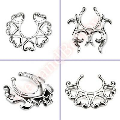 Non Piercing Clip On Fake Nipple Ring Piercing Jewellery CHOOSE SINGLE OR PAIR
