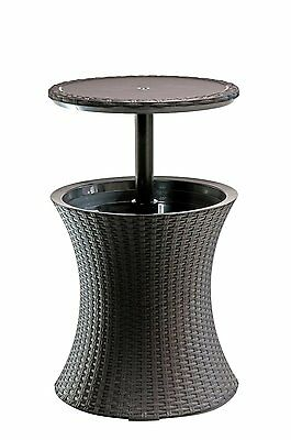 Wicker Ice Bucket Outdoor Patio Furniture All Weather Beverage Cooler Tray New