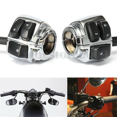 "Chrome Motorcycle 1"" Handlebar Control Switch Housing Wiring Harness for Harley"