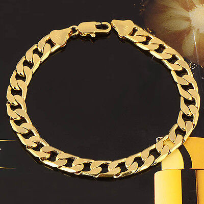 """Cool Mens 8-9"""" Womens Yellow Gold Plated Cuban Link Chain Bracelet 7mm Thick"""