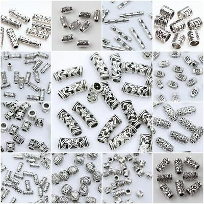 20/50/100pcs Tibetan Silver Loose Tube Spacer Beads Charms Jewelry Making DIY(*