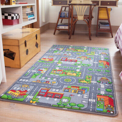 Small Colourful Kid's City Play Mat Fun Town Cars Play Village Road Rug