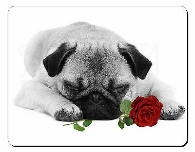 Pug (B+W Photo) with Red Rose Computer Mouse Mat Christmas Gift Idea, AD-P92R2M