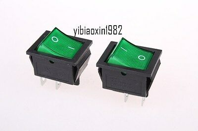 20pc Green Light 4Pin DPST On-Off Snap in Boat Rocker Switch 16A/250V 20A/125VAC