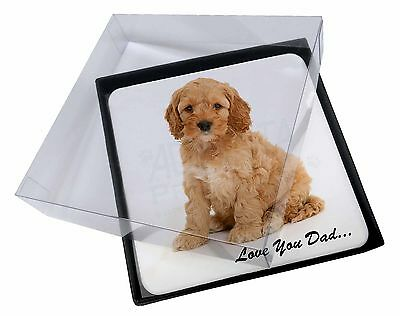 4x Cockerpoodle 'Love You Dad' Picture Table Coasters Set in Gift Box, DAD-19C