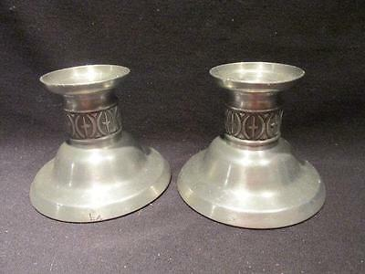 Cross Motif Pair of Pewter Candle Holders & Felt Bottoms Haugrud?