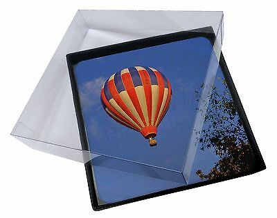 4x Hot Air Balloon Picture Table Coasters Set in Gift Box, SPO-B1C