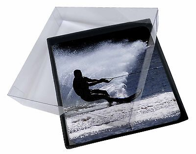 4x Water Skiing Sport Picture Table Coasters Set in Gift Box, SPO-W1C