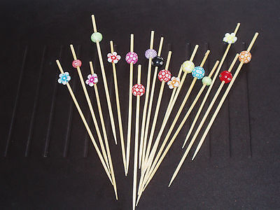 12cm Assorted Shapes Bead and Wooden Cocktail Sticks Skewers Party Canapes