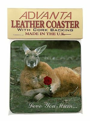 Kangaroo+Rose 'Love You Mum' Single Leather Photo Coaster Animal Bre, AK-1RlymSC
