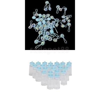24x Mini Bottles + 50x Rattles Girls Baby Shower Favor Party Table Scatters Blue