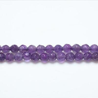 Strand Of 95+ Purple Amethyst 4mm Faceted Round Beads GS3044-1