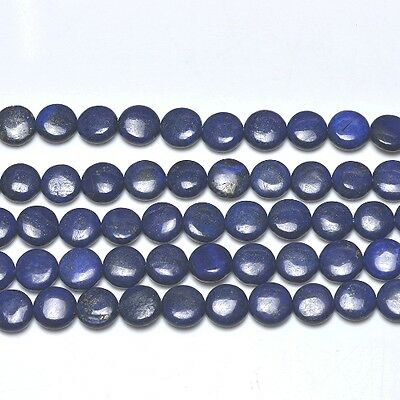 Strand Of 25+ Blue Lapis Lazuli 14mm Puffy Coin Beads GS0221-3