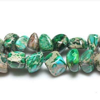 Strand Of 40+ Green Impression Jasper Approx 5 x 12mm Smooth Nugget Beads GS5836
