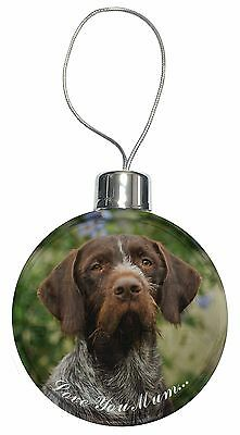 German Wirehaired Pointer 'Love You Mum' Christmas Tree Bauble Dec, AD-GWP1lymCB