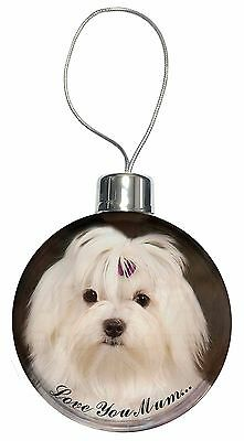 Maltese Dog 'Love You Mum' Christmas Tree Bauble Decoration Gift, AD-M1lymCB