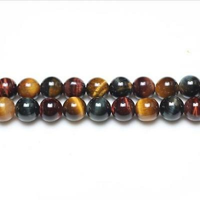 Strand Of 44+ Mixed Tiger Eye 8mm Plain Round Beads GS0382-2