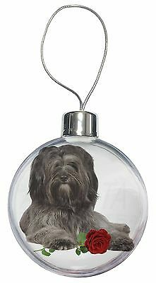 Tibetan Terrier with Red Rose Christmas Tree Bauble Decoration Gift, AD-TT2RCB