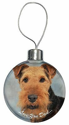 Welsh Terrier Dog 'Love You Dad' Christmas Tree Bauble Decoration Gif, DAD-136CB