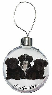 Yorkipoo Pups 'Love You Dad' Christmas Tree Bauble Decoration Gift, DAD-139CB