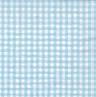 Gingham Check Paper Napkins Light Blue