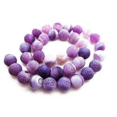 Strand Of 62+ Purple Frosted Cracked Agate 6mm Plain Round Beads GS16121-1