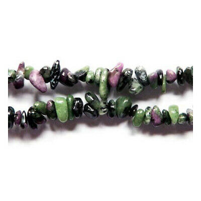 Long Strand Of 240+ Green/Pink Ruby In Zoisite 5-8mm Chip Beads GS3111