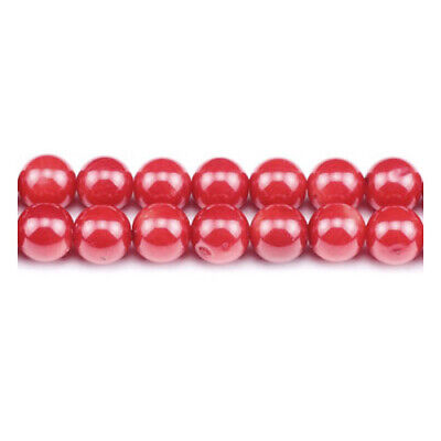 Strand Of 60+ Red Coral 6mm Plain Round Beads GS1862-2