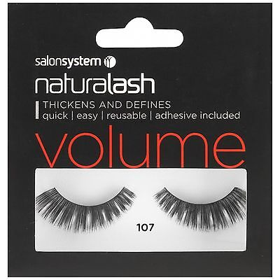 Naturalash 107 Eye Lash Strips Volume Lashes Black Adhesive Inc by Salon System
