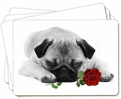 Pug (B+W Photo) with Red Rose Picture Placemats in Gift Box, AD-P92R2P
