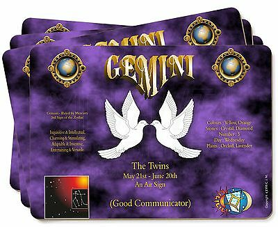 Gemini Star Sign Birthday Gift Picture Placemats in Gift Box, ZOD-3P