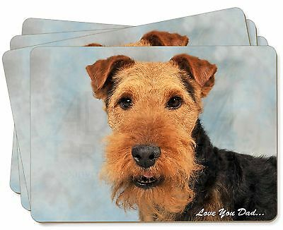 Welsh Terrier Dog 'Love You Dad' Picture Placemats in Gift Box, DAD-136P